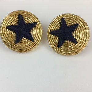 Vintage 90s Ribbon Star Pierced Earrings
